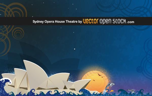 Сидней, опера, символ города, рисунок в векторе, AI