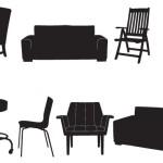Силуэты, трафареты мебели. Стулья, диван.