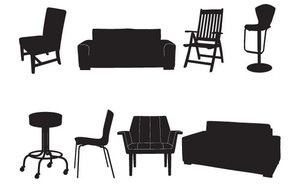 стулья, офисный. барный стул, диван, силуэт, трафарет в векторе, EPS