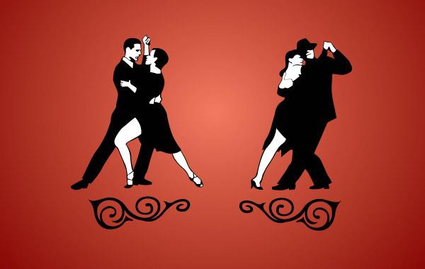 танцующие пары, танго,  рисунок в векторе,  AI