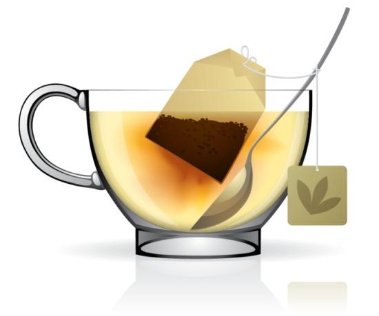 чашка чая в векторе, чай, eps, ложка