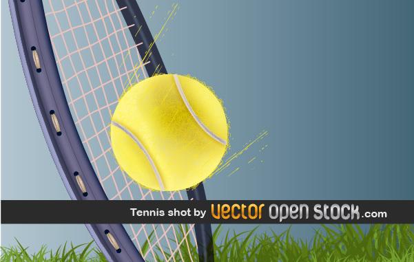 Теннис в векторе. Ракетка и мяч.