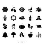Иконки: индюк, тыква, кукуруза  в векторе.
