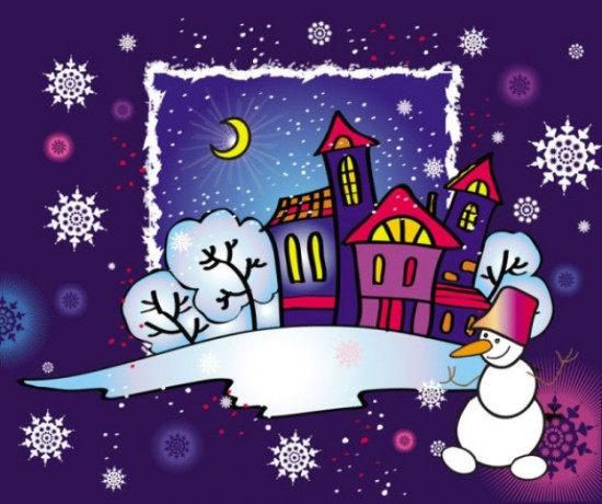 Дома в рамке и снеговик. Новогодняя открытка в векторе.