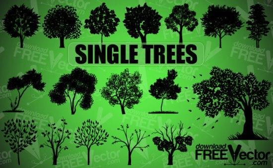 деревья, силуэт дерева, силуэты деревьев,  AI