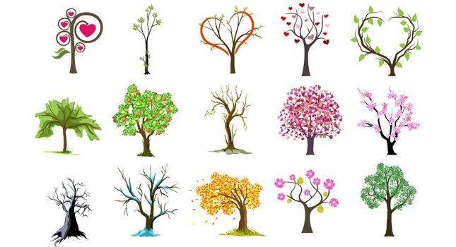 Деревья. Времена года. Вектор, картинки, рисунки.