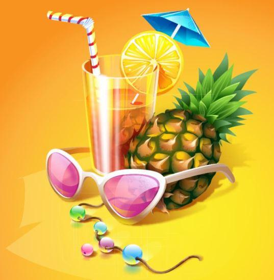 Тропический коктейль с ананасом в векторе.