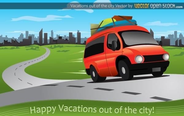 машина, автомобиль, отдых за городом, дорога, рисунок в векторе, AI