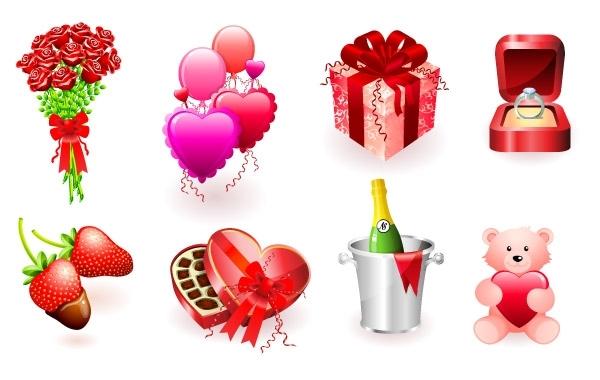 День Святого Валентина, День Рожденья, конфеты, кольцо в коробочке, букет роз, клубника в шоколаде, игрушка, медведь, подарок, шампанское в ведерке, воздушные шары, подарки в векторе, EPS