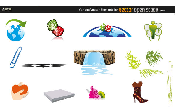 сапог, скрепка, сердце, кубики, кости для игры, бассейн, рисунки в векторе, AI