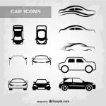 Схематические рисунки легковых автомобилей в векторе.