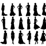 Силуэты Женщины в платьях. Вектор. Трафарет.