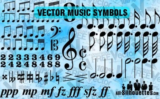 Музыкальные ноты в векторе