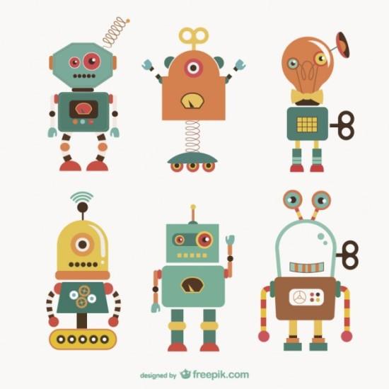 Забавные роботы в векторе.