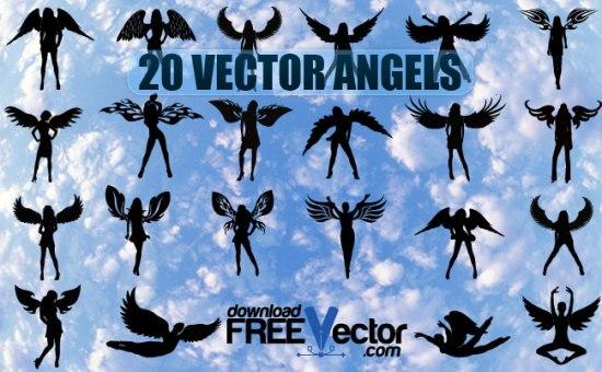 девушки, ангелы, крылья, силуэты, трафарет, векторные рисунки, черно - белый рисунок, EPS