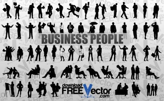 Силуэты бизнесменов и бизнес леди в векторе