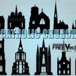 Католические соборы в векторе. Силуэт. Трафарет.