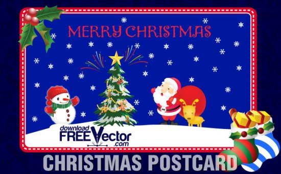 новогодняя открытка, Дед Мороз, елка, Новый год, снеговик, рисунок в векторе, EPS