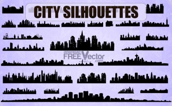 Векторные силуэты городов, зданий