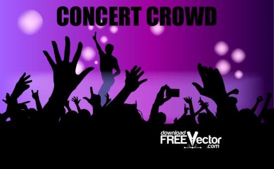 концерт, поклонники, толпа, зрители, в векторе, SVG, EPS