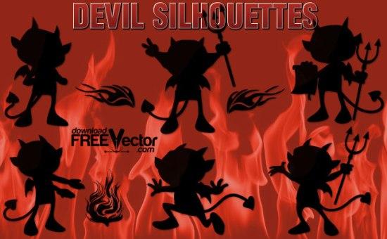 дьявол, смешной дьявол, забавный дьявол,клапарт в векторе, силуэт, трафарет, SVG, EPS, AI