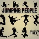Силуэты прыгающих людей, людей в движении в векторе
