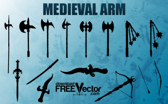 Силуэт секиры, лука, меча, булавы в векторе. Средневековое оружие.