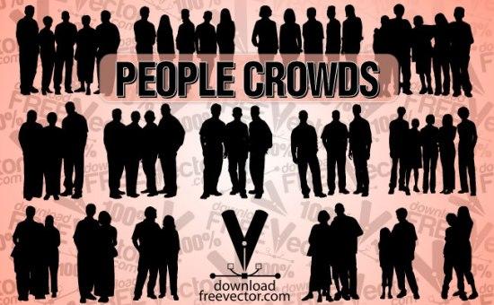 группы людей, векторные люди, силуэты, трафарет, SVG, EPS, AI