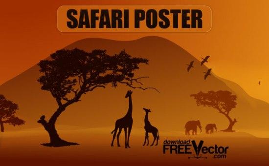 жирафы, слоны, птицы, сафари, векторная картинка, формат EPS