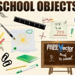 Школьные принадлежности в векторе. Глобус, книги, тетрадь.