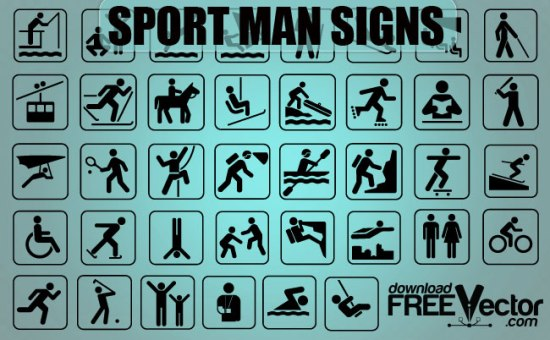 Спортивные значки, иконки в векторе