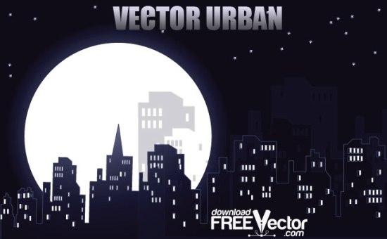 Ночной город в векторе