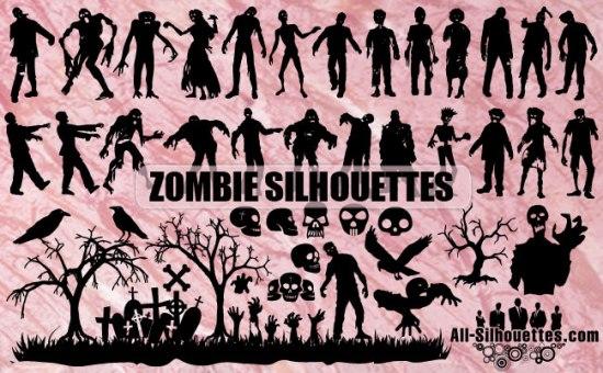 зомби, мертвецы, памятники, памятники, надгробия, черепа, ворона, мертвые деревья, Хэллоуин, силуэт, рисунок в векторе, SVG, EPS, Ai, CSH