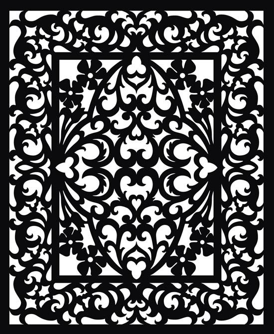 черно-белый узор, резьба по дереву, трафарет, шаблон,  рисунок в векторе, EPS