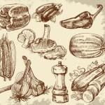 Рисунок карандашом перца, грибов, баклажанов.