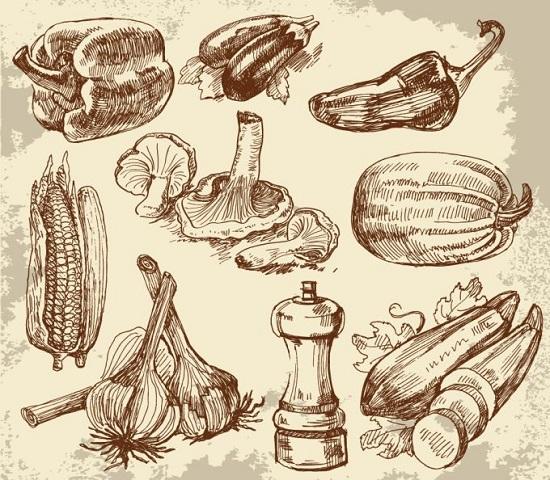 рисунок перца, баклажанов, чеснока, грибов, кукурузы, карандашом от руки, картинка в векторе, EPS