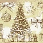 Новый год. Открытка. Рисунок карандашом елки, подарков, игрушек. В векторе.