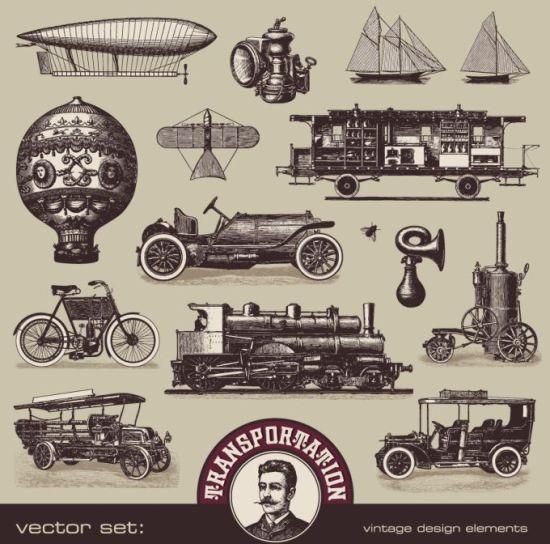 Старинные автомобили, машины, корабли, воздушные шары в векторе