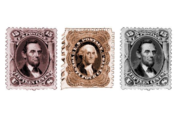 винтажные почтовые марки с президентами США, президенты, Вашингтон, Линкольн, рисунок в векторе,  AI