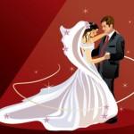 Свадебный вектор. Рисунок. Невеста, жених, танец.