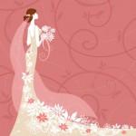 Невеста. Свадебный вектор . Свадебный букет, фата, платье.