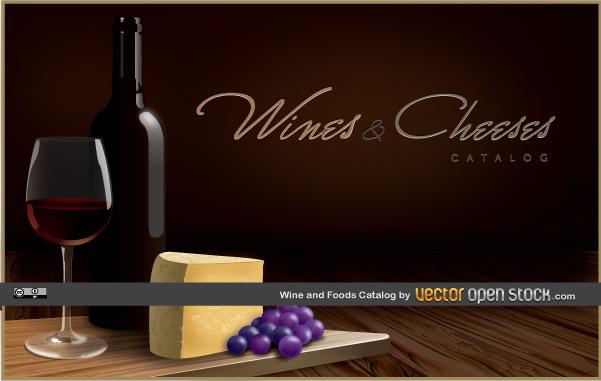 Вино и сыр в векторе