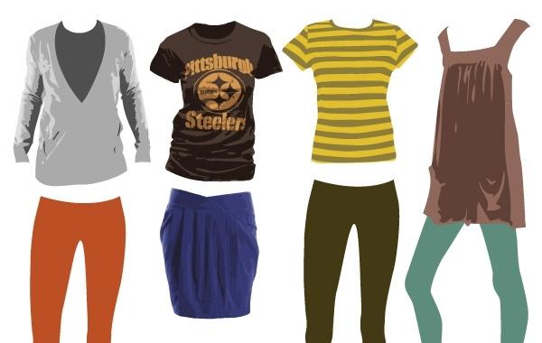 одежда, юбка, футболка, кофта, брюки, рисунок в векторе, AI