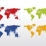 Карта мира в четырех вариантах в векторе.