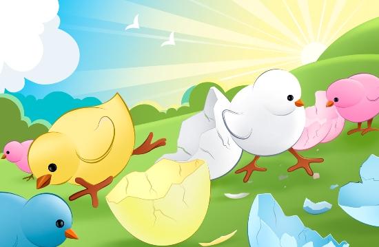 psd исходник, цыплята, картинка, скорлупа, солнце, луг, трава, слои