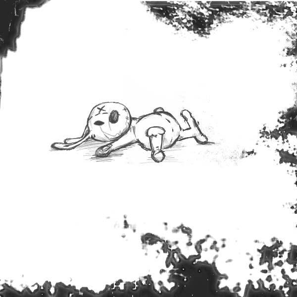 Рисунок рваного, старого зайца игрушки карандашом