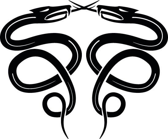 Две сплетенные змеи. Черно- белая картинка в векторе. Силуэт. Татуировка.